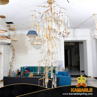 Decorative Long Tree Shape Villa Interior Glass Chandelier (KA520-C)