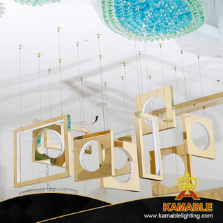 Modern Square Golden Frame Indoor Acrylic Pendant Light (KA517-P)