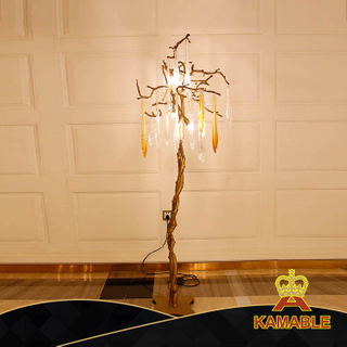 Tree Shape Art Brass Glass Decoration Guestroom Floor Light (KA531-F)