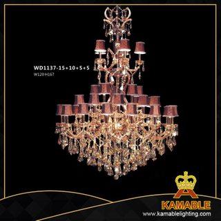 Hotel Brass with crystal Classical pendant chandelier(WD1137-15+10+5+5)