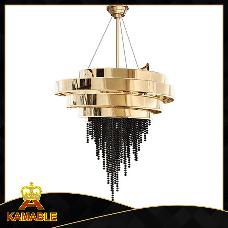 Project Stainless Steel Black Color K9 Crystal Chandelier (KA00222)