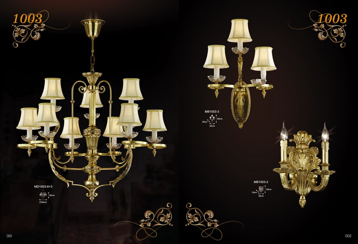 Home lobby brass crystal chandelier (MD1003-6+3)