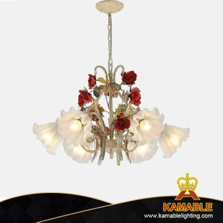Modern Rose Decorative Pendant Lamp Iron Chandelier (AT0247/6)